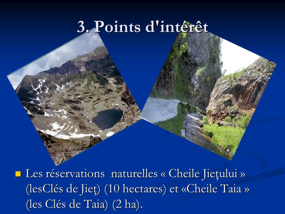 3. Points d'intérêt Les réservations naturelles « Cheile Jieţului » (lesClés de Jieţ) (10 hectares) et «Cheile Taia » (les Clés de Taia) (2 ha). Les r