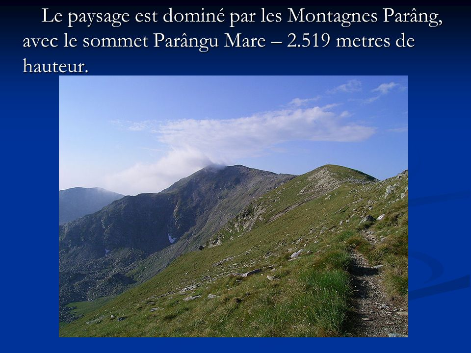 Le paysage est dominé par les Montagnes Parâng, avec le sommet Parângu Mare – 2.519 metres de hauteur. Le paysage est dominé par les Montagnes Parâng,