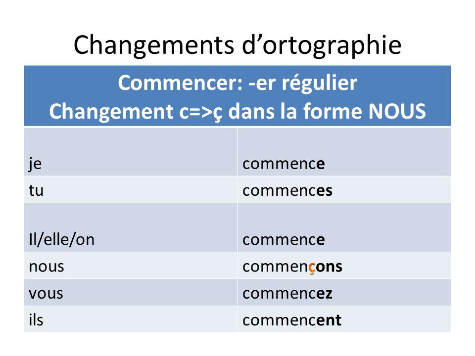 Changements dortographie Commencer: -er régulier Changement c=>ç dans la forme NOUS jecommence tucommences Il/elle/oncommence nous vouscommencez ilsco
