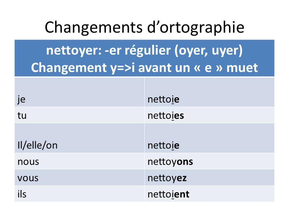 Changements dortographie nettoyer: -er régulier (oyer, uyer) Changement y=>i avant un « e » muet jenettoie tunettoies Il/elle/onnettoie nousnettoyons