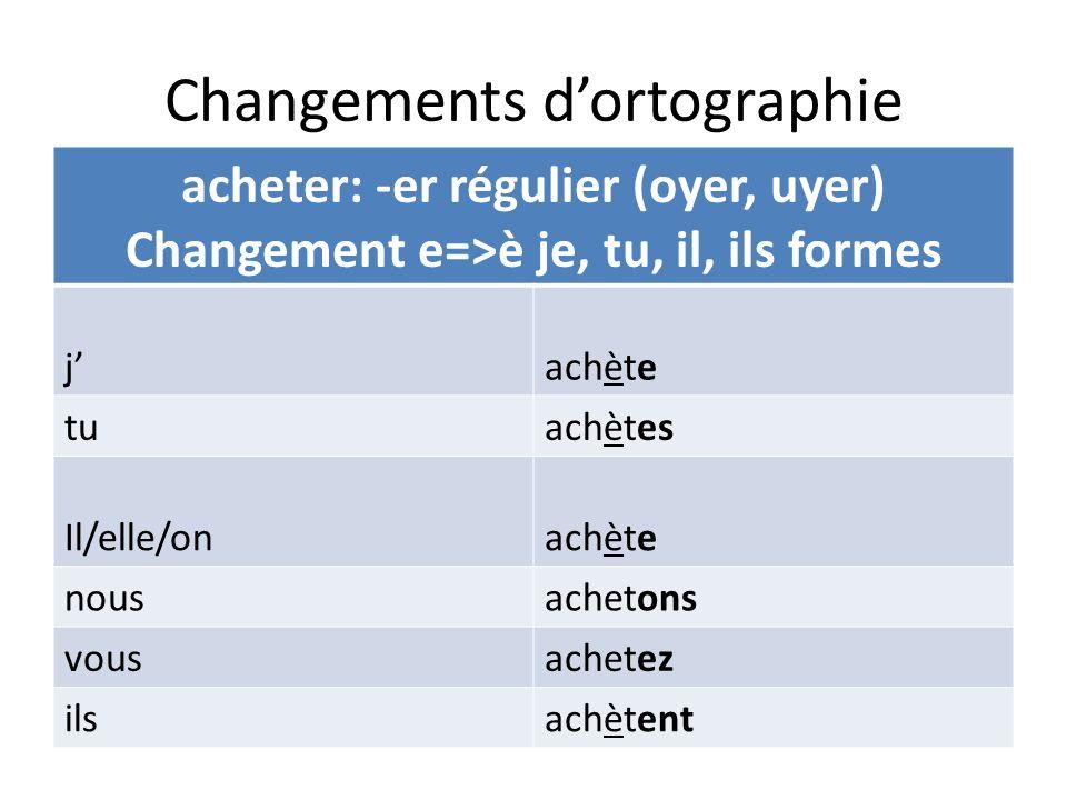 Changements dortographie acheter: -er régulier (oyer, uyer) Changement e=>è je, tu, il, ils formes jachète tuachètes Il/elle/onachète nousachetons vou