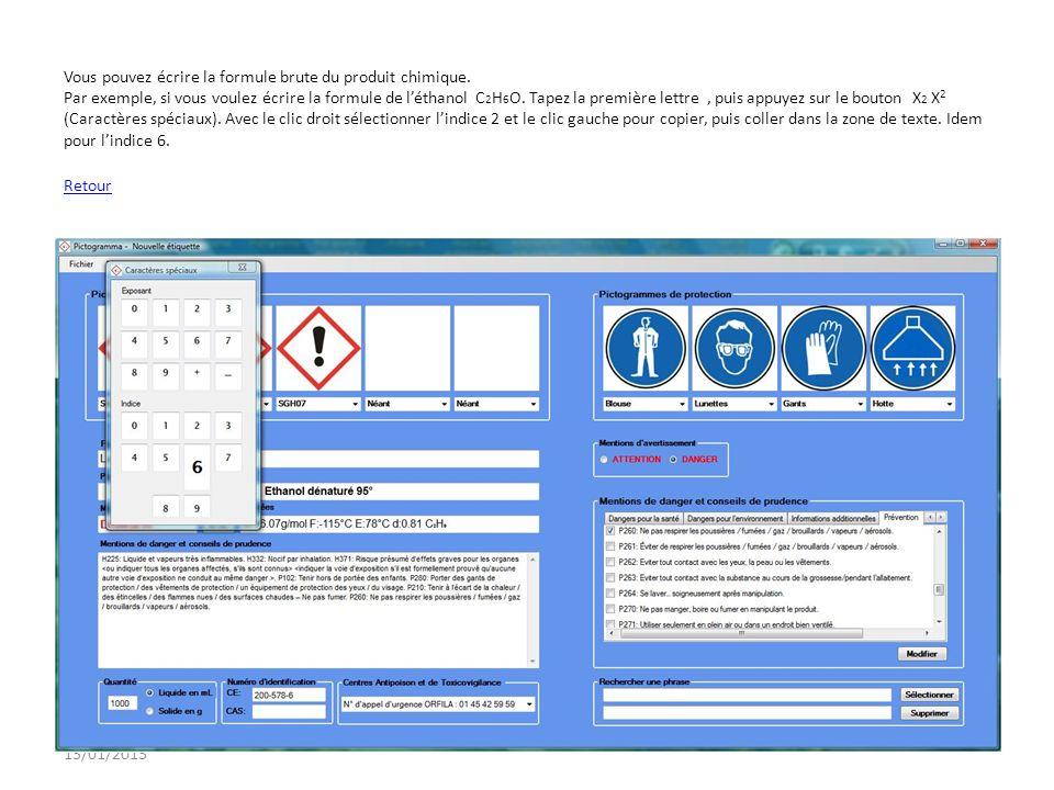 13/01/2013 Vous pouvez écrire la formule brute du produit chimique. Par exemple, si vous voulez écrire la formule de léthanol C 2 H 6 O. Tapez la prem
