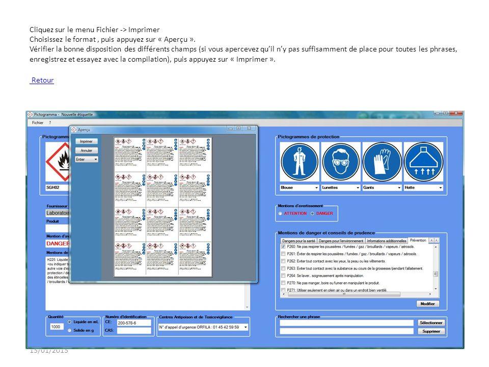 13/01/2013 Cliquez sur le menu Fichier -> Imprimer Choisissez le format, puis appuyez sur « Aperçu ». Vérifier la bonne disposition des différents cha