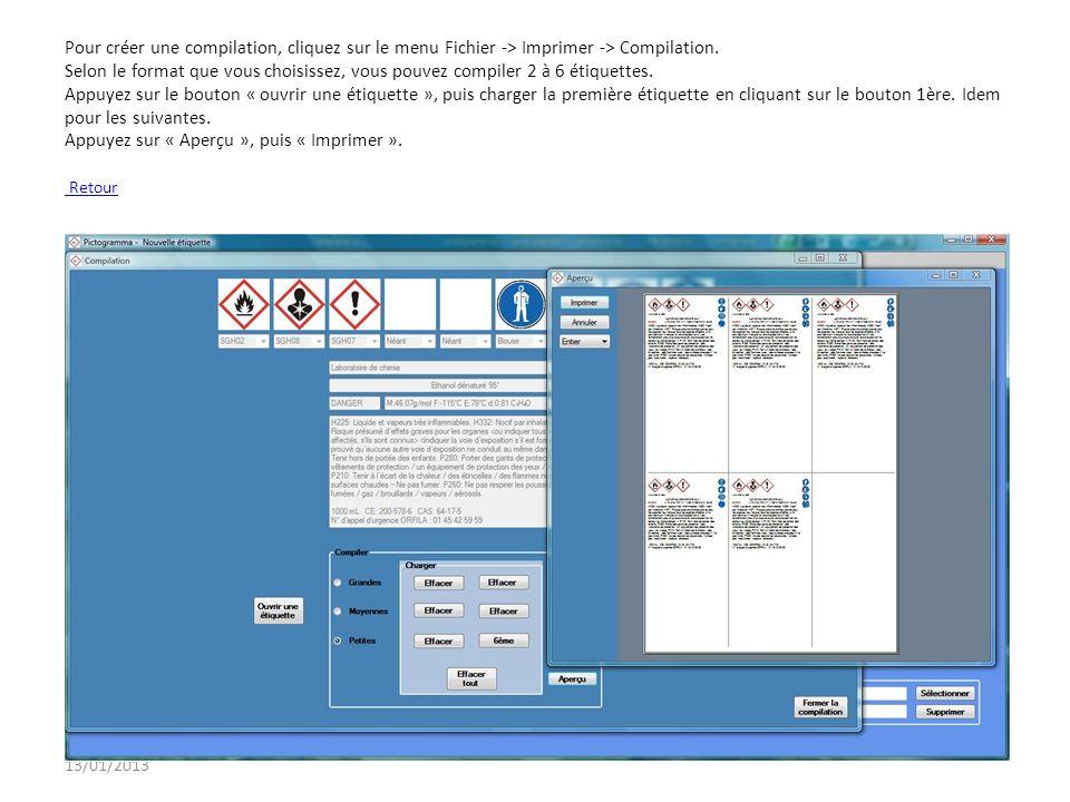 13/01/2013 Exemple détiquette Retour présentation – Comment créer une étiquette?présentationComment créer une étiquette
