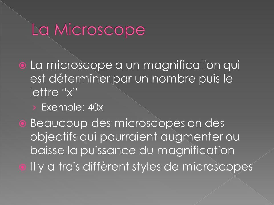 La microscope a un magnification qui est déterminer par un nombre puis le lettre x Exemple: 40x Beaucoup des microscopes on des objectifs qui pourraie