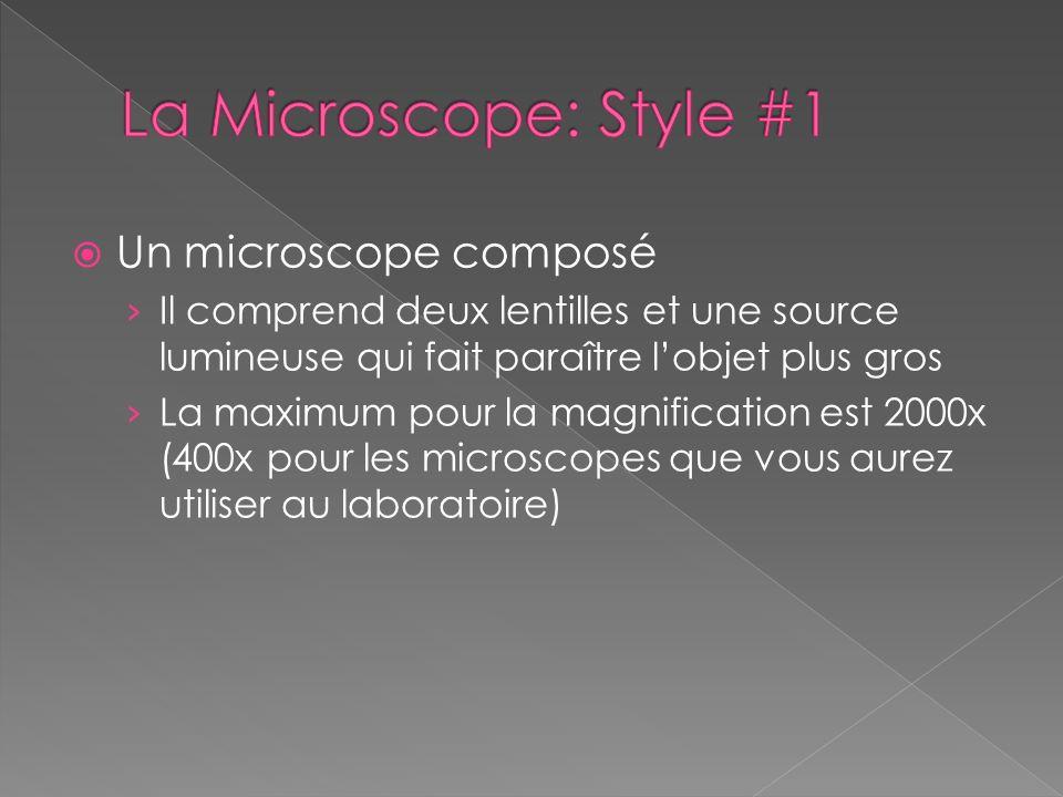 Un microscope composé Il comprend deux lentilles et une source lumineuse qui fait paraître lobjet plus gros La maximum pour la magnification est 2000x