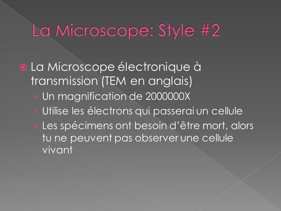La Microscope électronique à transmission (TEM en anglais) Un magnification de 2000000X Utilise les électrons qui passerai un cellule Les spécimens on