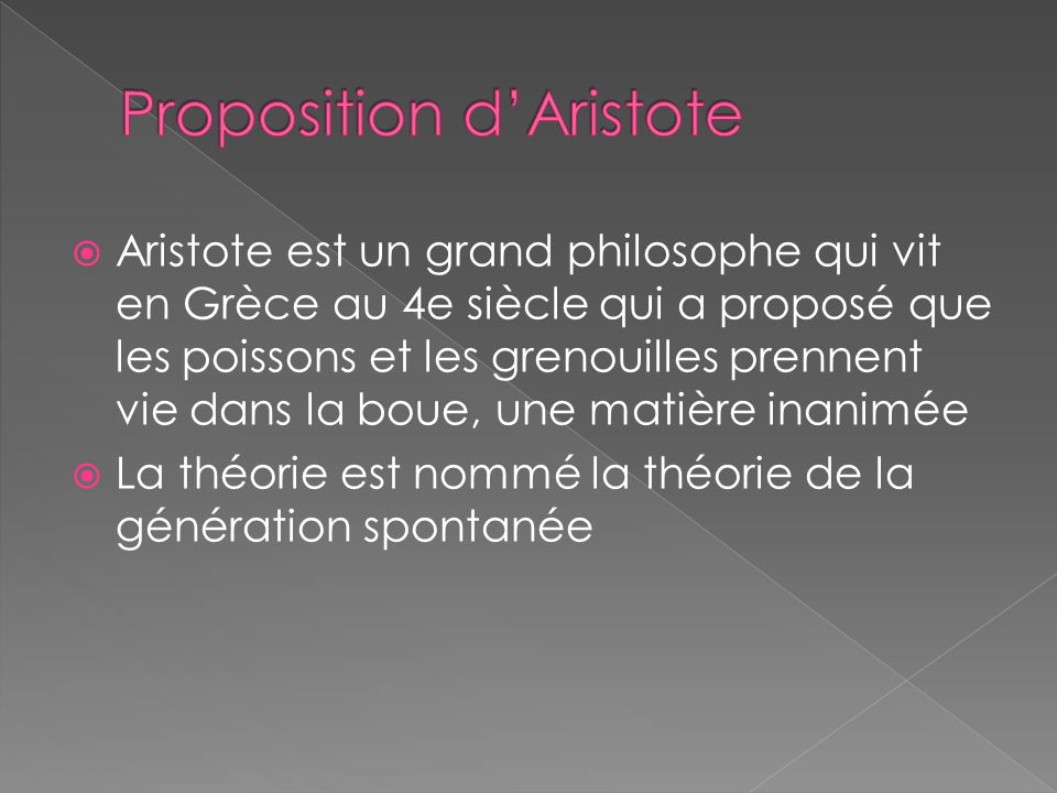 Aristote est un grand philosophe qui vit en Grèce au 4e siècle qui a proposé que les poissons et les grenouilles prennent vie dans la boue, une matièr