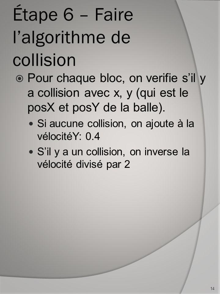 Étape 6 – Faire lalgorithme de collision Pour chaque bloc, on verifie sil y a collision avec x, y (qui est le posX et posY de la balle). Si aucune col