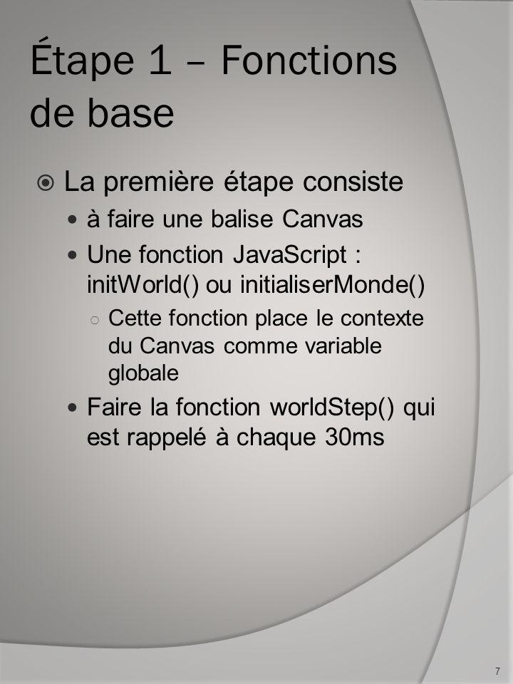 Étape 1 – Fonctions de base La première étape consiste à faire une balise Canvas Une fonction JavaScript : initWorld() ou initialiserMonde() Cette fon