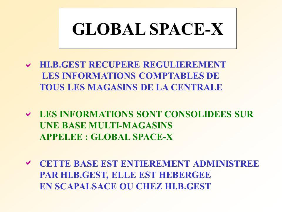 GLOBAL SPACE-X LES INFORMATIONS SONT CONSOLIDEES SUR UNE BASE MULTI-MAGASINS APPELEE : GLOBAL SPACE-X CETTE BASE EST ENTIEREMENT ADMINISTREE PAR HI.B.