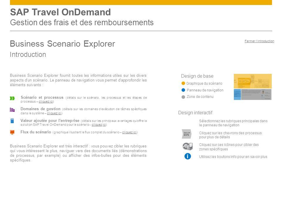 SAP Travel OnDemand Gestion des frais et des remboursements Business Scenario Explorer Introduction Design de base Graphique du scénario Panneau de navigation Zone de contenu Business Scenario Explorer fournit toutes les informations utiles sur les divers aspects d un scénario.