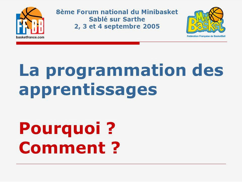 La programmation des apprentissages Pourquoi ? Comment ? 8ème Forum national du Minibasket Sablé sur Sarthe 2, 3 et 4 septembre 2005