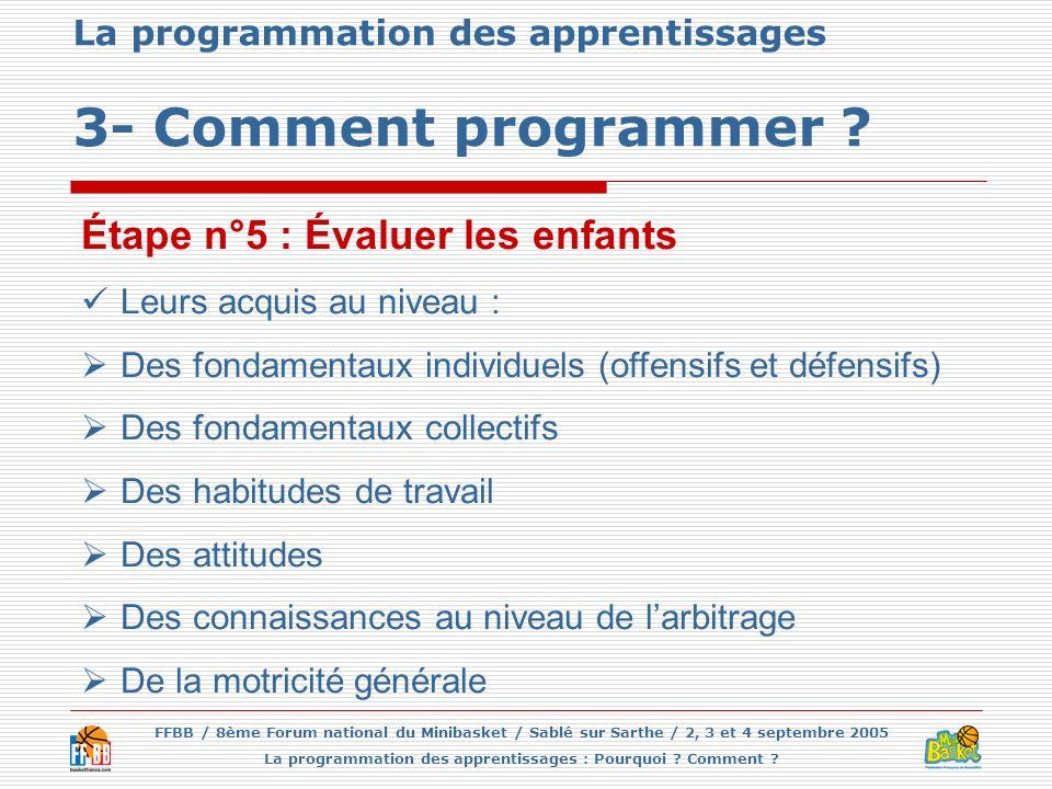 FFBB / 8ème Forum national du Minibasket / Sablé sur Sarthe / 2, 3 et 4 septembre 2005 La programmation des apprentissages : Pourquoi ? Comment ? La p