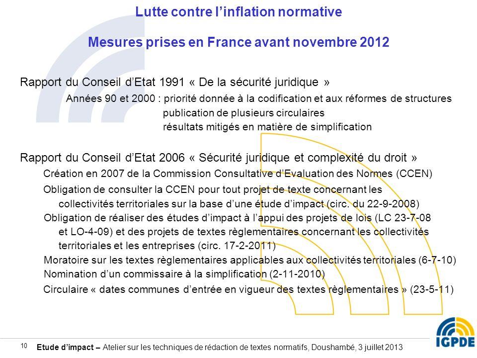 Etude dimpact – Atelier sur les techniques de rédaction de textes normatifs, Doushambé, 3 juillet 2013 10 Lutte contre linflation normative Mesures pr