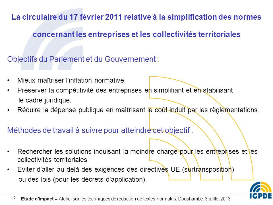 Etude dimpact – Atelier sur les techniques de rédaction de textes normatifs, Doushambé, 3 juillet 2013 12 La circulaire du 17 février 2011 relative à