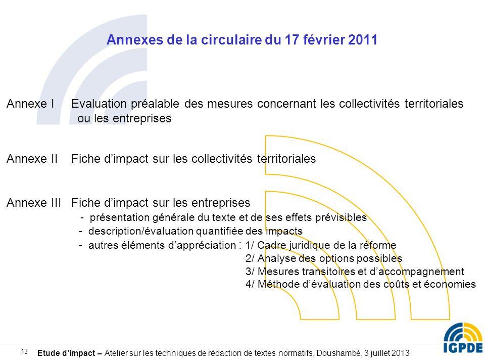 Etude dimpact – Atelier sur les techniques de rédaction de textes normatifs, Doushambé, 3 juillet 2013 13 Annexes de la circulaire du 17 février 2011