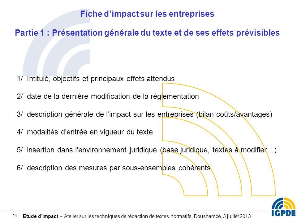 Etude dimpact – Atelier sur les techniques de rédaction de textes normatifs, Doushambé, 3 juillet 2013 14 Fiche dimpact sur les entreprises Partie 1 :