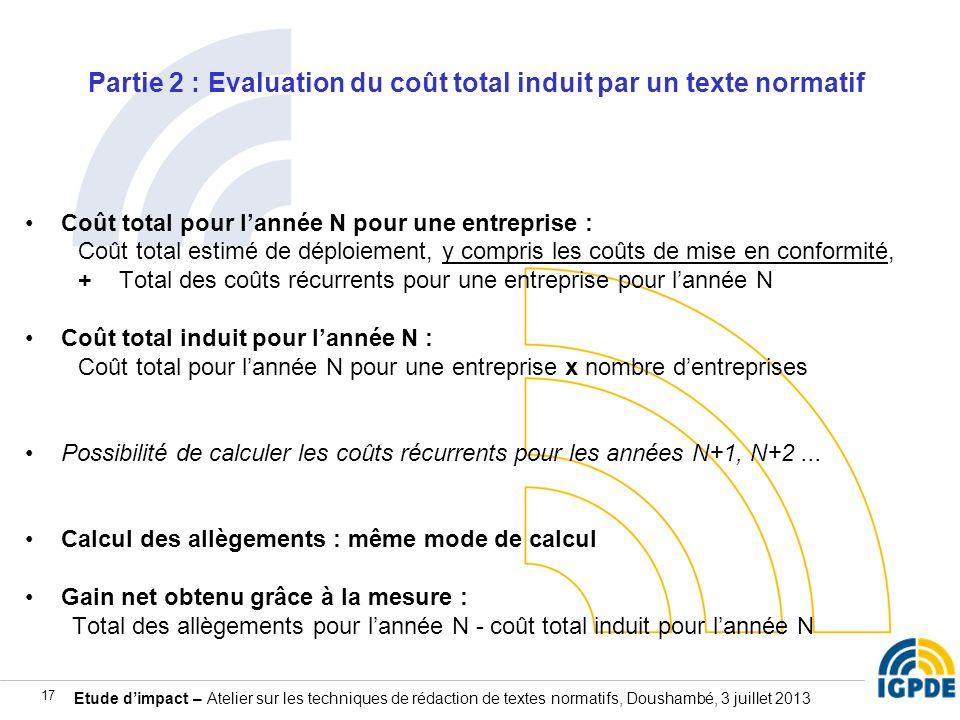 Etude dimpact – Atelier sur les techniques de rédaction de textes normatifs, Doushambé, 3 juillet 2013 17 Partie 2 : Evaluation du coût total induit p
