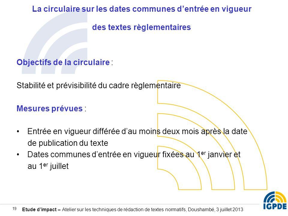 Etude dimpact – Atelier sur les techniques de rédaction de textes normatifs, Doushambé, 3 juillet 2013 19 La circulaire sur les dates communes dentrée