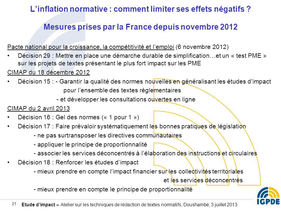 Etude dimpact – Atelier sur les techniques de rédaction de textes normatifs, Doushambé, 3 juillet 2013 21 Linflation normative : comment limiter ses e