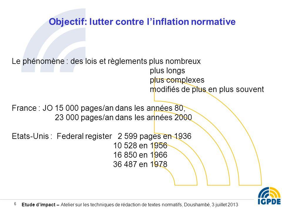 Etude dimpact – Atelier sur les techniques de rédaction de textes normatifs, Doushambé, 3 juillet 2013 6 Objectif: lutter contre linflation normative