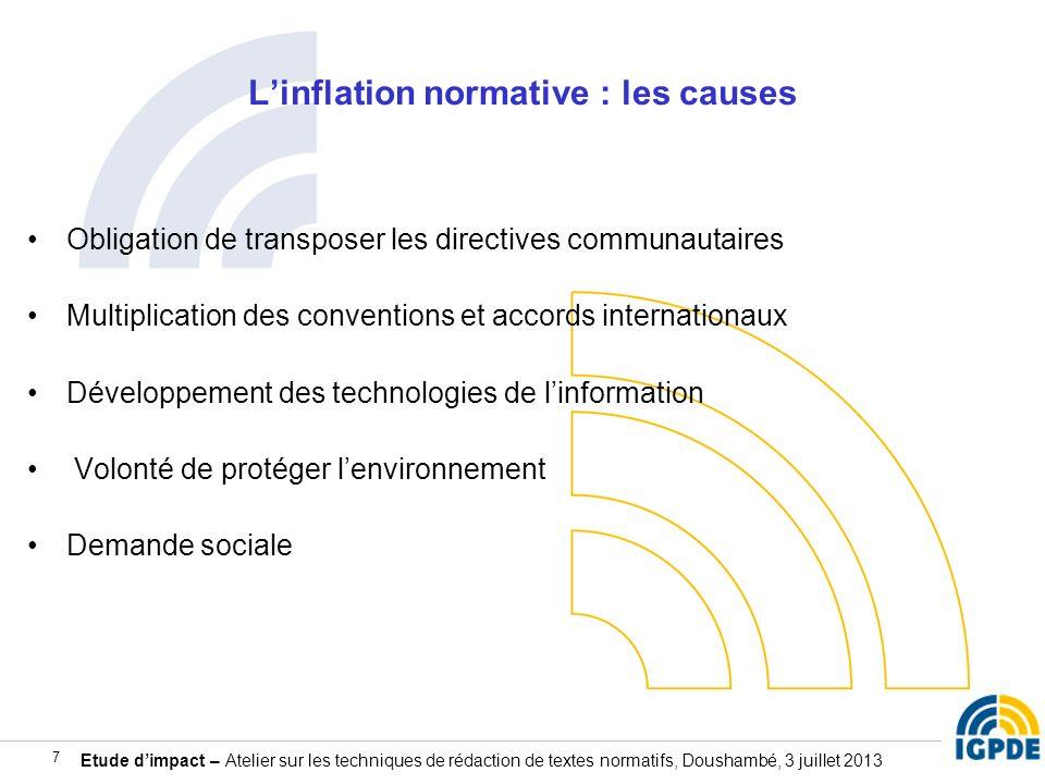 Etude dimpact – Atelier sur les techniques de rédaction de textes normatifs, Doushambé, 3 juillet 2013 7 Linflation normative : les causes Obligation