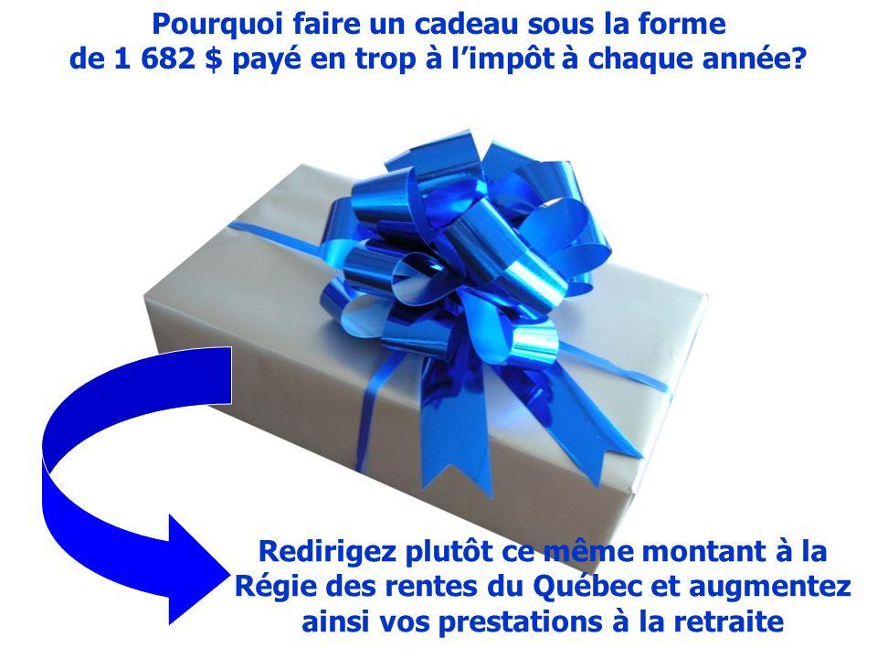 Pourquoi faire un cadeau sous la forme de 1 682 $ payé en trop à limpôt à chaque année.