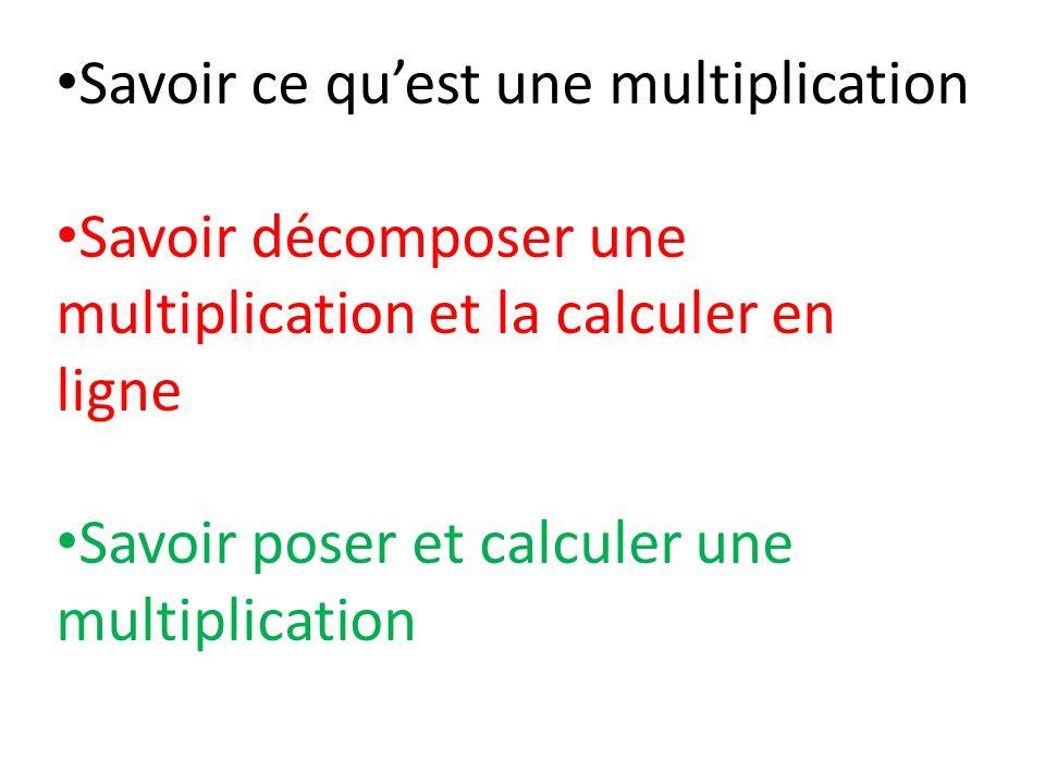 Savoir ce quest une multiplication Savoir décomposer une multiplication et la calculer en ligne Savoir poser et calculer une multiplication