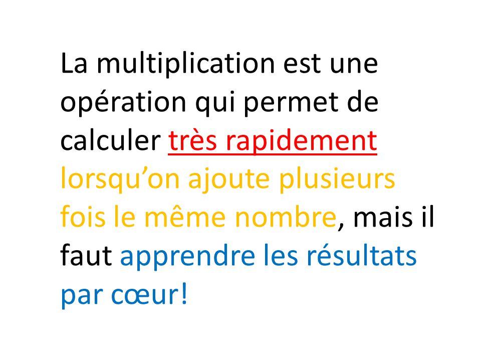 La multiplication est une opération qui permet de calculer très rapidement lorsquon ajoute plusieurs fois le même nombre, mais il faut apprendre les r