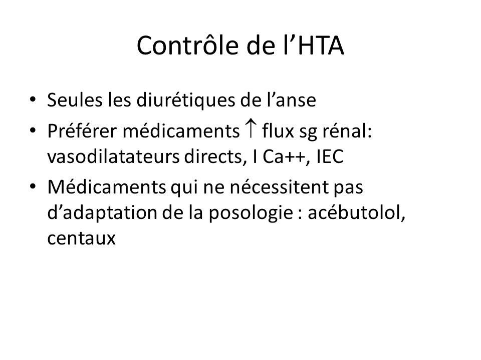 Contrôle de lHTA Seules les diurétiques de lanse Préférer médicaments flux sg rénal: vasodilatateurs directs, I Ca++, IEC Médicaments qui ne nécessite