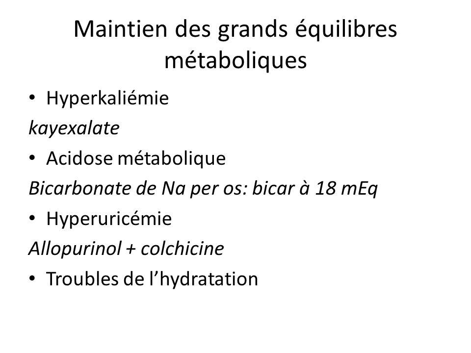 Maintien des grands équilibres métaboliques Hyperkaliémie kayexalate Acidose métabolique Bicarbonate de Na per os: bicar à 18 mEq Hyperuricémie Allopu