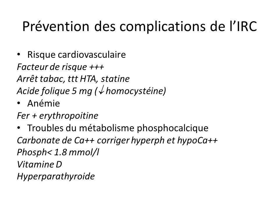 Prévention des complications de lIRC Risque cardiovasculaire Facteur de risque +++ Arrêt tabac, ttt HTA, statine Acide folique 5 mg ( homocystéine) An