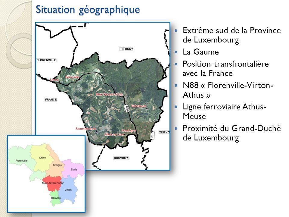 Extrême sud de la Province de Luxembourg La Gaume Position transfrontalière avec la France N88 « Florenville-Virton- Athus » Ligne ferroviaire Athus-