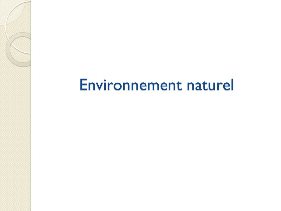 Environnement naturel