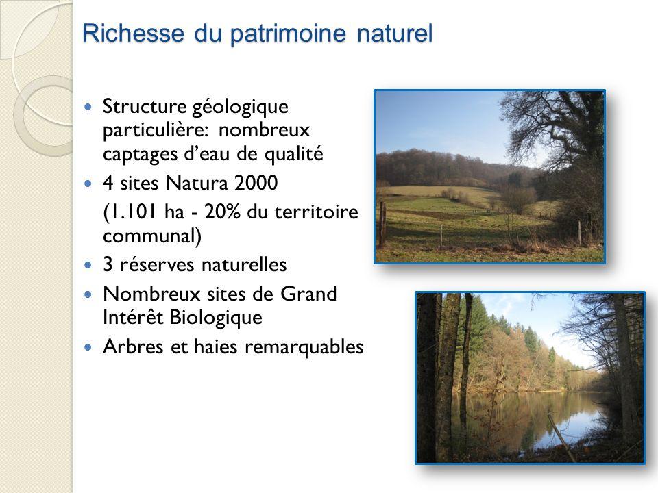 Richesse du patrimoine naturel Structure géologique particulière: nombreux captages deau de qualité 4 sites Natura 2000 (1.101 ha - 20% du territoire