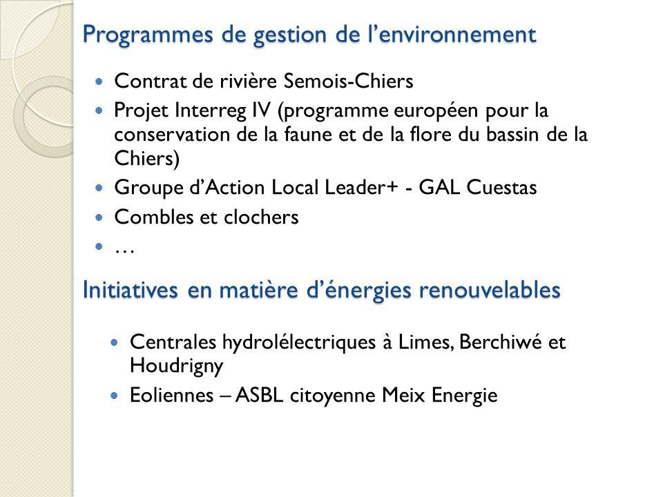 Programmes de gestion de lenvironnement Contrat de rivière Semois-Chiers Projet Interreg IV (programme européen pour la conservation de la faune et de