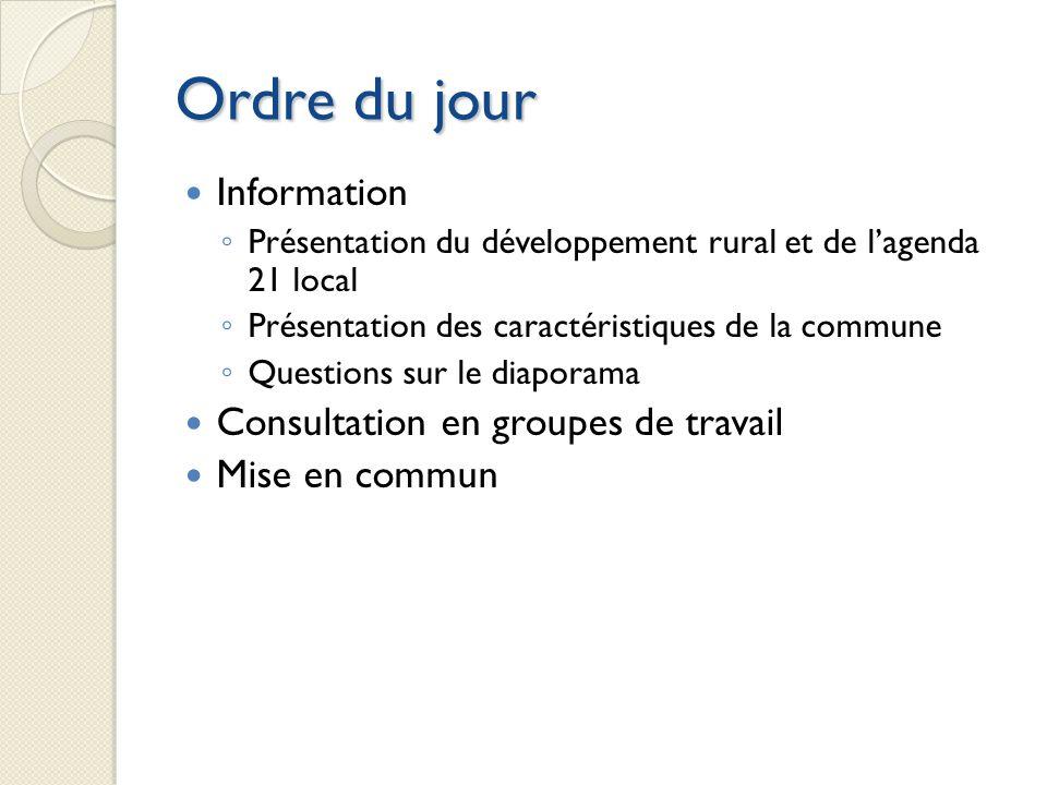 Ordre du jour Information Présentation du développement rural et de lagenda 21 local Présentation des caractéristiques de la commune Questions sur le