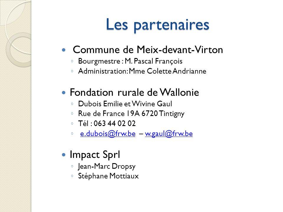 Les partenaires Commune de Meix-devant-Virton Bourgmestre : M. Pascal François Administration: Mme Colette Andrianne Fondation rurale de Wallonie Dubo