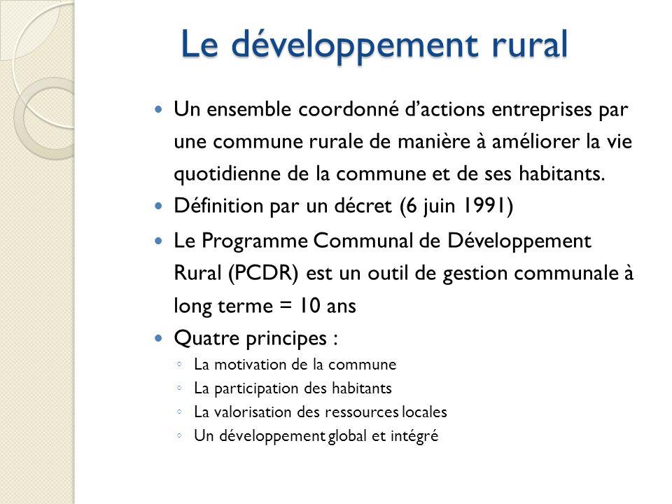 Le développement rural Un ensemble coordonné dactions entreprises par une commune rurale de manière à améliorer la vie quotidienne de la commune et de