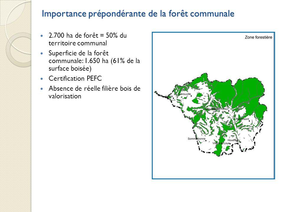Importance prépondérante de la forêt communale 2.700 ha de forêt = 50% du territoire communal Superficie de la forêt communale: 1.650 ha (61% de la su