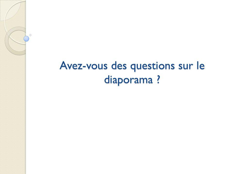 Avez-vous des questions sur le diaporama ?