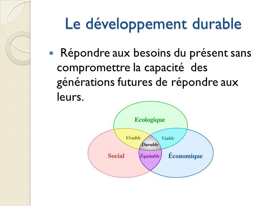 Le développement durable Répondre aux besoins du présent sans compromettre la capacité des générations futures de répondre aux leurs.