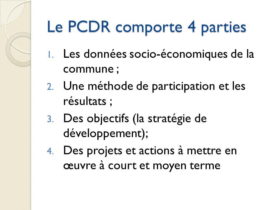 Le PCDR comporte 4 parties 1. Les données socio-économiques de la commune ; 2. Une méthode de participation et les résultats ; 3. Des objectifs (la st