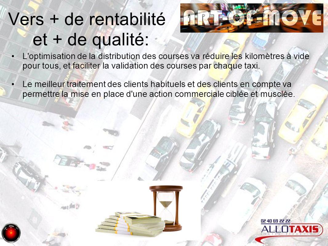 Vers + de rentabilité et + de qualité: L optimisation de la distribution des courses va réduire les kilomètres à vide pour tous, et faciliter la validation des courses par chaque taxi.