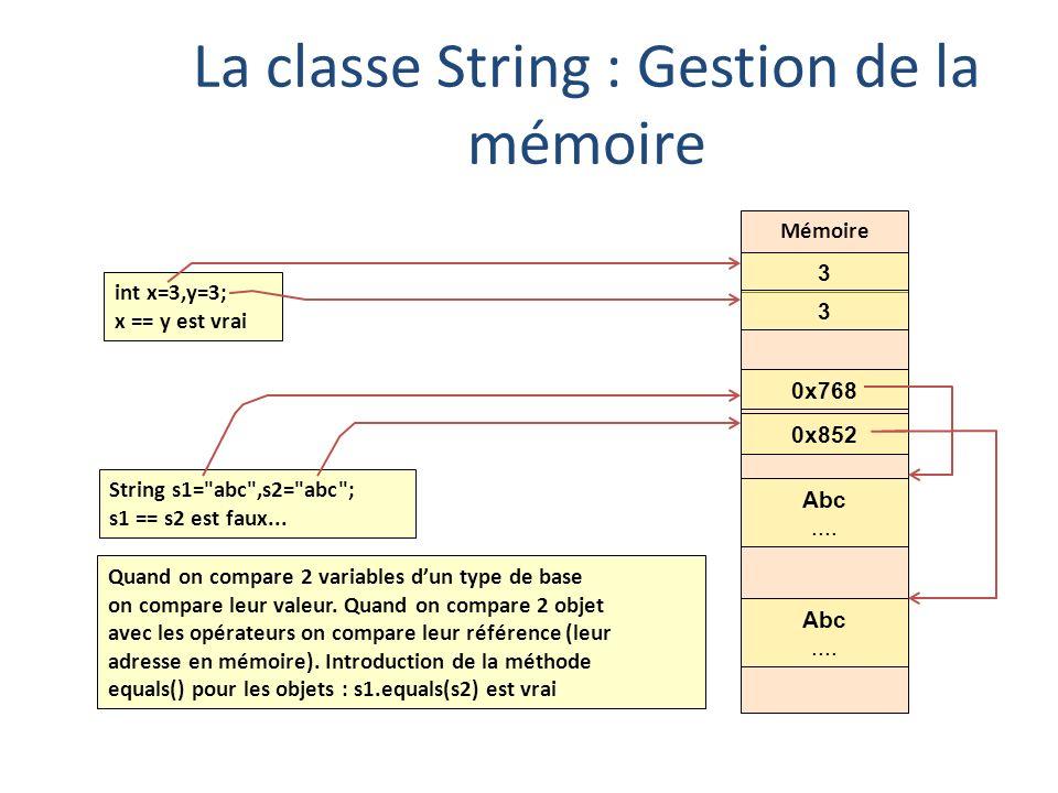 La classe String : Gestion de la mémoire int x=3,y=3; x == y est vrai String s1=