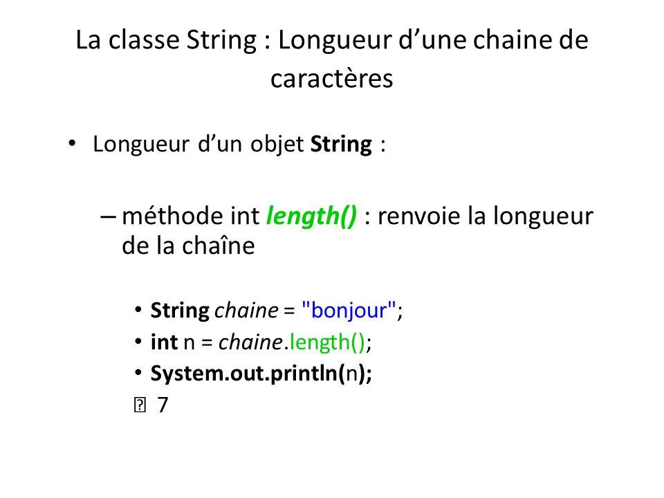 La classe String : Longueur dune chaine de caractères Longueur dun objet String : – méthode int length() : renvoie la longueur de la chaîne String cha