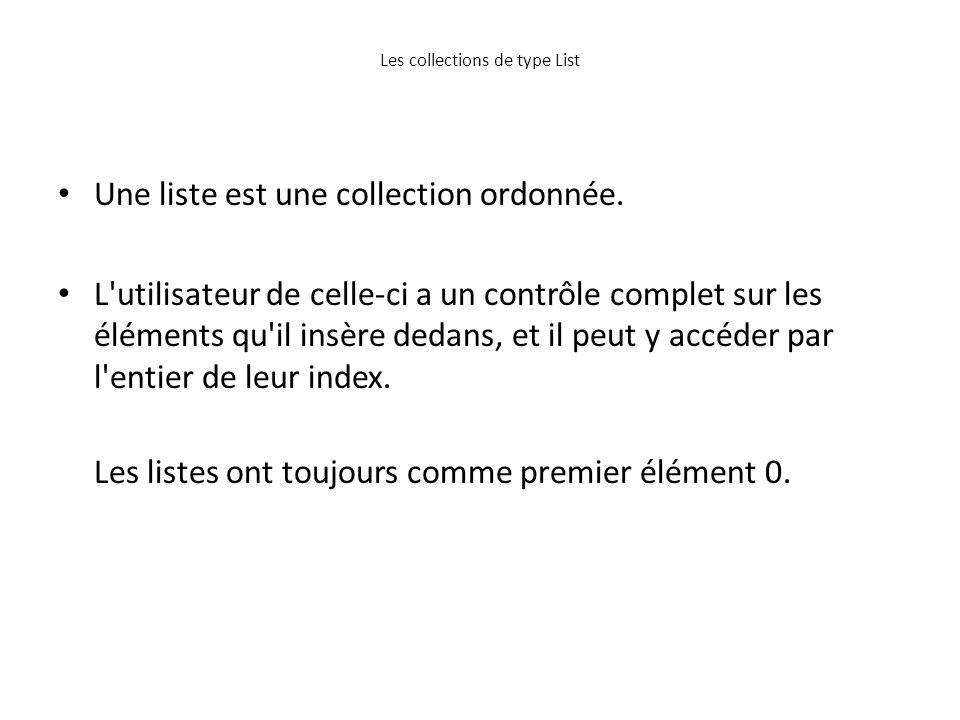 Les collections de type List Une liste est une collection ordonnée. L'utilisateur de celle-ci a un contrôle complet sur les éléments qu'il insère deda