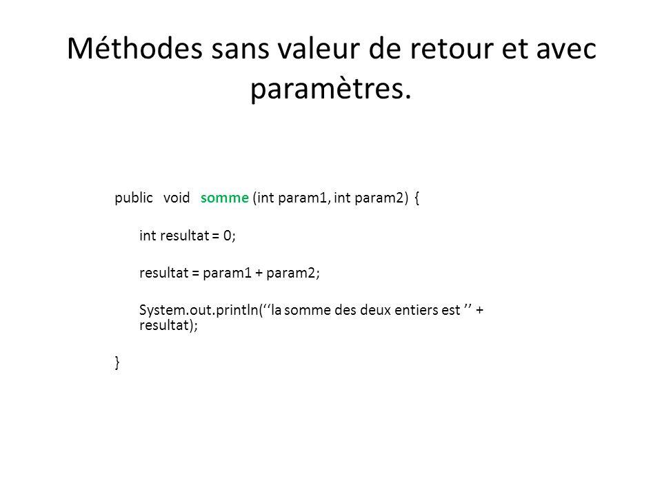 Méthodes sans valeur de retour et avec paramètres. public void somme (int param1, int param2) { int resultat = 0; resultat = param1 + param2; System.o
