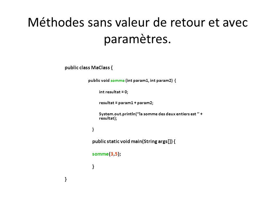 Méthodes sans valeur de retour et avec paramètres. public class MaClass { public void somme (int param1, int param2) { int resultat = 0; resultat = pa